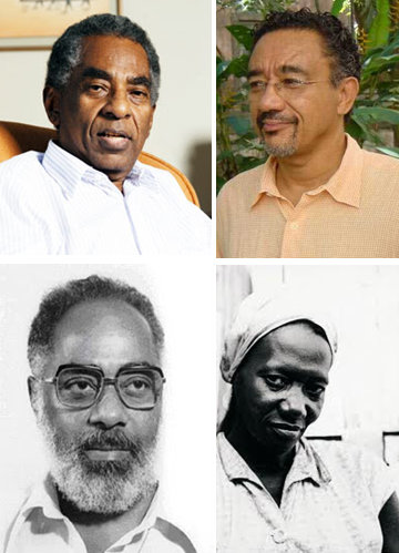 Contemporary Afro-Brazilian writers Top left to right: Joel Rufino dos Santos, Muniz Sodré Bottom left to right: Abdias do Nascimento (1914-2011), Carolina de Jesus (1914-1977)