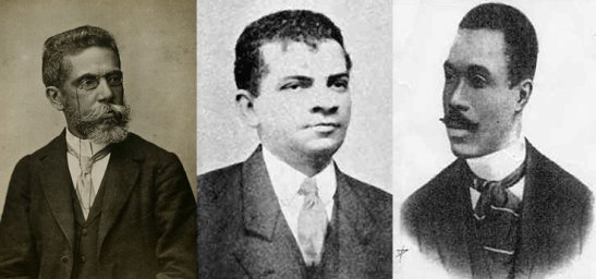 Afro-Brazilian literary figures. From left to right: Macahdo de Assis (1839–1908), João da Cruz e Sousa (1861-1898) and Afonso Henriques de Lima Barreto (1881-1922)