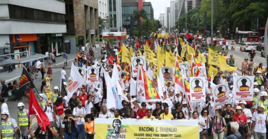 March of the Day of Black Consciousness on Avenida Paulista in São Paulo