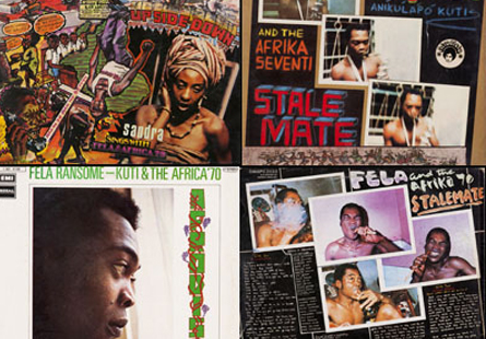 A few of Fela's album covers featured at Museu Afro Brasil