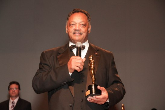 American Civil Rights activist Jesse Jackson speaks after receiving his award