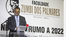 Jackson during his speech at Unipalmares, Brazil's first and only black college