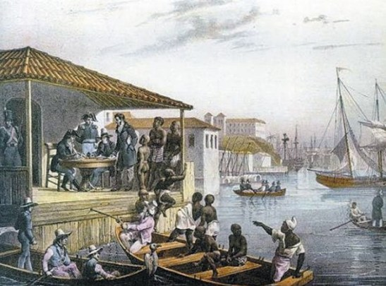 Landing of slaves in Cais do Valongo, painted by Rugendas in 1835