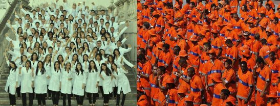 On the left, the 2010 graduating class of Medicine at the Federal University of Bahia. On the right, winners of a competition to become the latest street sweepers in Rio de Janeiro, 2010
