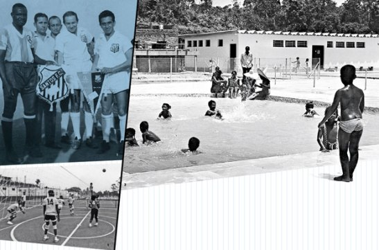 The blue shield stamped uniforms of the soccer teams (top, in a game against Santos) and volleyball, among other sports. In Grajaú, there was a children's pool and a semi-Olympic pool