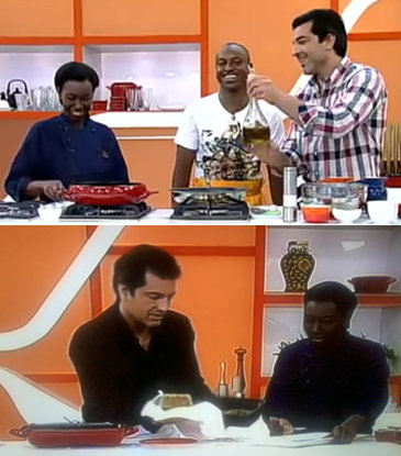 The same dynamic can be seen on the Record TV program 'Hoje em Dia' featuring chef Edu Guedes. Featured in top photo is also popular singer Thiaguinho. In both photos the black assistant is also present. She usually remains silent as she assists Guedes