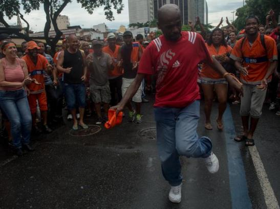 A symbol of Rio's Carnaval and famous for closing the 2012 Olympics in London, Renato (Sorriso) Luiz Lourenço participated in the strike