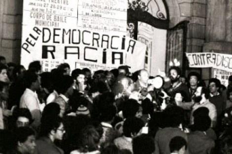 Movimento Negro Unificado on the steps of the Teatro Municipal in São Paulo, 1978