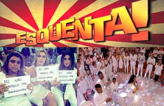"The April 27th homage to dancer DG on the program ""Esquenta"". Sign: ""I do not deserve to be assassinated"""