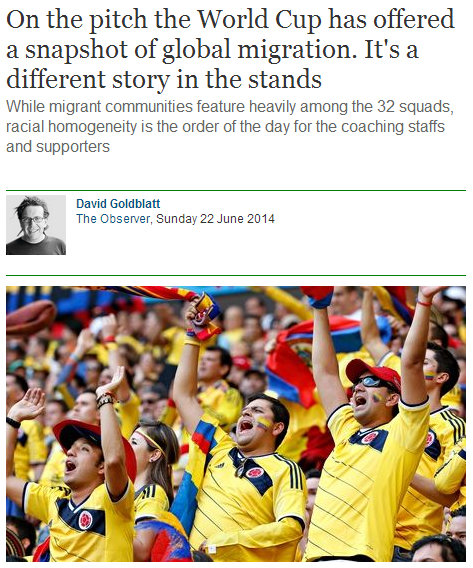 Colombian fans at the World Cup have been predominantly of European origin, in contrast to the more racially diverse national futebol team