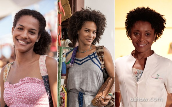 The character Neidinha is first played by Jéssica Barbosa (left and middle) and then by Elina de Souza