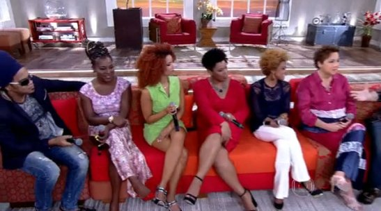 Actresses of 'Sexo e as negas' appear on Globo TV talk show 'Encontro com Fátima Bernardes' in support of the series