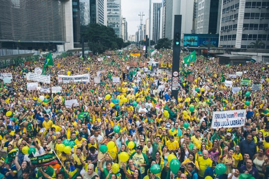 Protesters on Avenida Paulista in São Paulo on Sunday