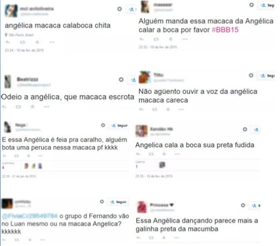 """BBB 15 viewer tweets about Angélica: """"Angélica monkey shut up chimpanzee"""", """"I hate Angélica that idiot monkey"""" """"And this Angélica is ugly as hell, someone put a wig on this monkey please hahaha"""" """"Fernando's group really goes with Luan or that monkey Angélica? hahahaha"""" """"Someone order this monkey Angélica to shit up please"""", """"I can't stand hearing the voice of Angélica bald monkey"""" """"Angélica shut up stinking black"""", """"That Angélica dancing looks like a black chicken of macumba (voodoo)"""""""