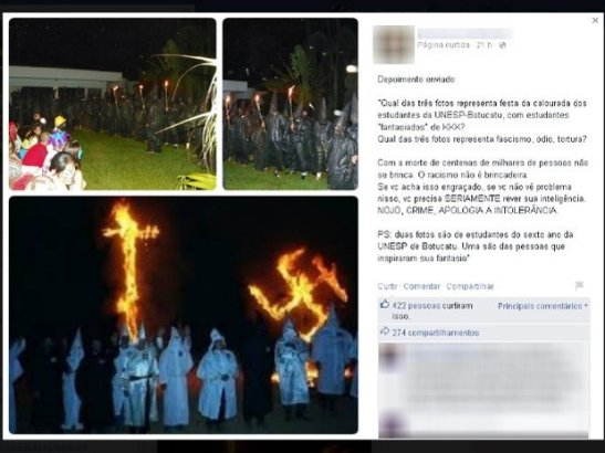 Facebook page compared the UNESP students (top) to the US terrorist organization the KKK (bottom)