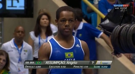 Still from 18-year old Ângelo Assumpção's performance at the World Cup of Gymnastics