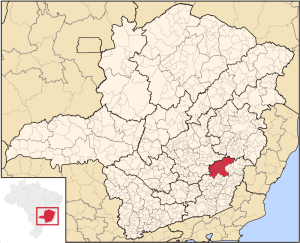 Ponte Nova (in red) in the state of Minas Gerais