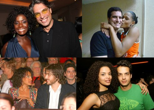 Clockwise from top left: Actress Adriana Alves and husband Olivier Anquier, volleyball player Adenízia da Silva and fiancee, actress Lucy Ramos and Thiago Luciano, actress Sheron Menezes and Miguel Thiré