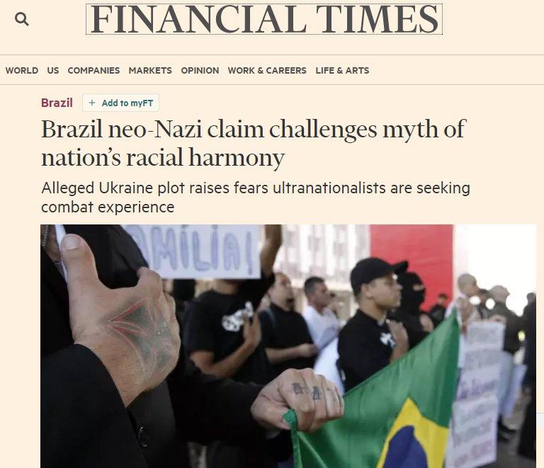 Neonazismo no Brasil traz desafios a país da miscigenação, diz Financial Times