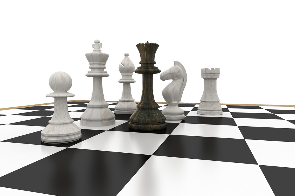 chess - black queen white pieces