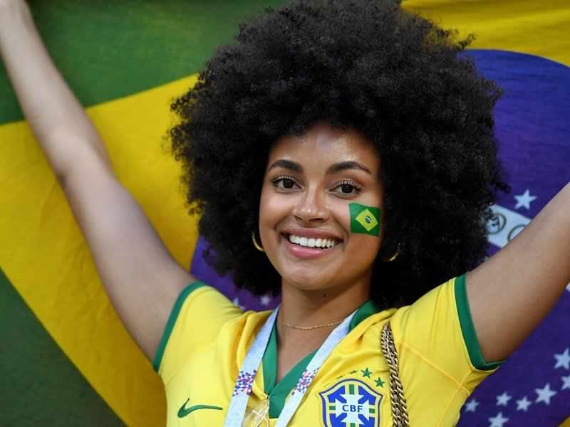 Brazilian model, Paula Almeida was one of a few black Brazilian women in the stadiums during the 2018 World Cup in Russia
