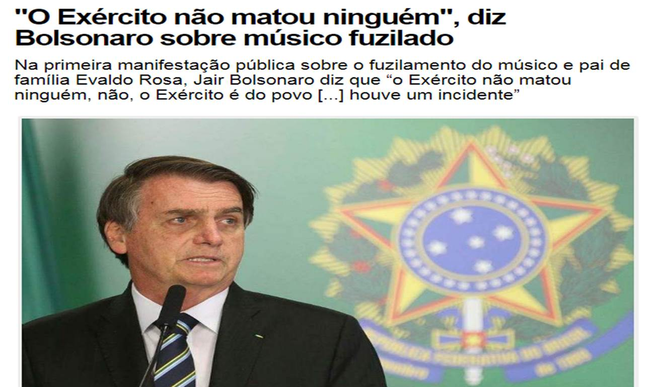Bolsonaro - army didn't kill anyone