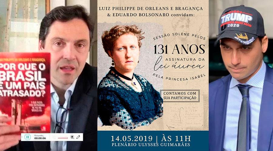 Luis Phillipe Orleans e Bragança e Eduardo Bolsonaro, que farão homenagem a princesa Isabel (Montagem)