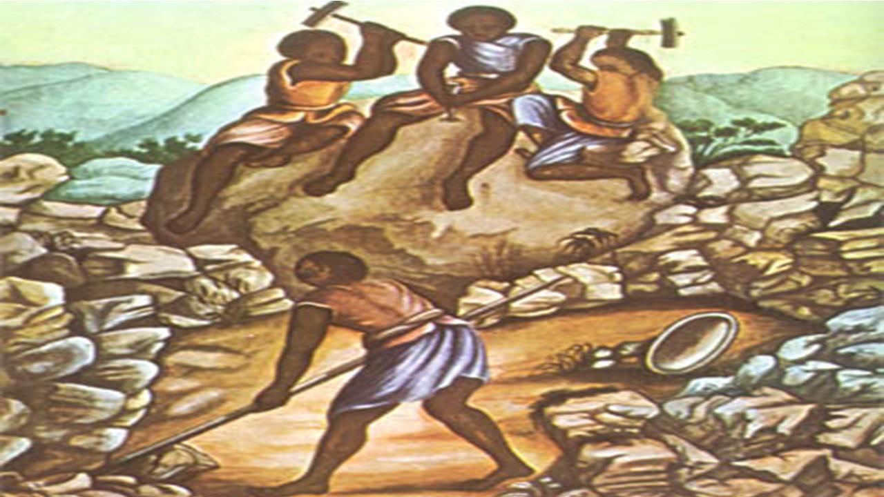 Slaves working in diamond region (e)
