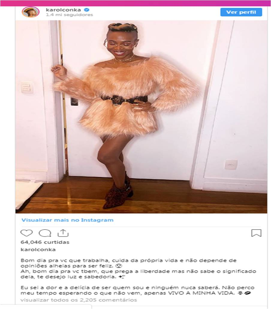 Rapper Karol Conka faces accusations of hypocrisy after going public