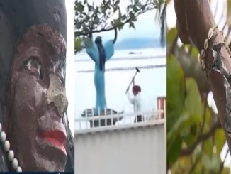 Woman Attacks Statue of African Deity of The Sea Iemanjá