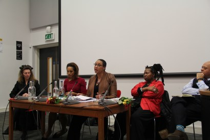 Dr. Clea Bourne speaking, as part of the Renegade Raconteurs respondent panel: (from left) Dr. Deirdre Osborne, Afua Hirsch, Dr. Clea Bourne, Prof. Claudia Bernard, Prof. Kurt Barling.