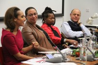 Afua Hirsch offers her perspective as part of the respondent panel: (from left) Afua Hirsch, Dr. Clea Bourne, Prof. Claudia Bernard, Prof. Kurt Barling.
