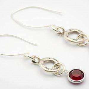 January Flower Design Hill Tribe Silver Drop Earrings