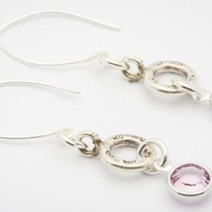 June Flower Design Hill Tribe Silver Drop Earrings