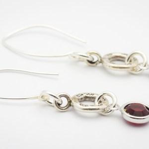 July Flower Design Hill Tribe Silver Drop Earrings