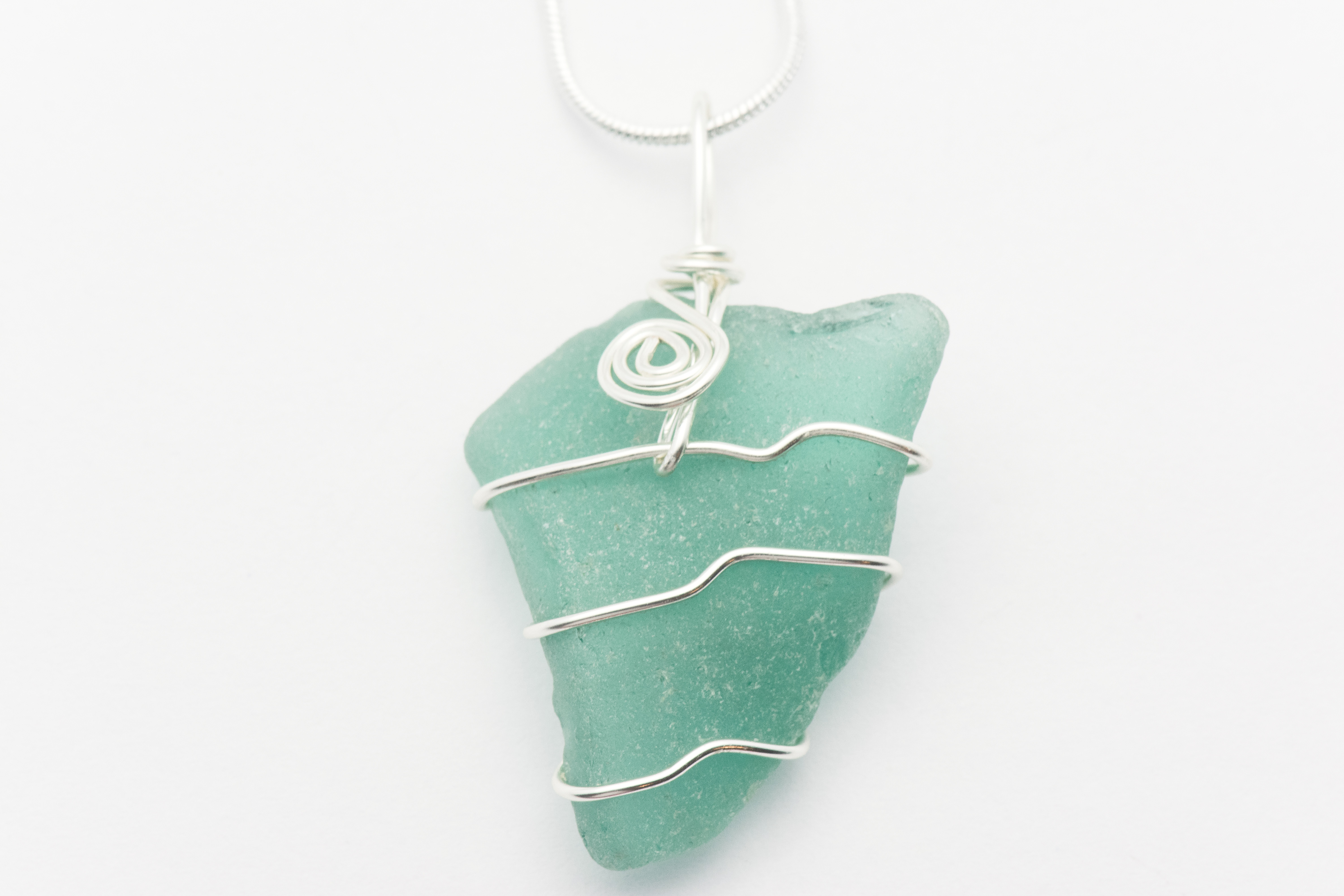 Wire Wrapped Teal Sea Glass Chunk Necklace | Genuine - Black Brook Shop
