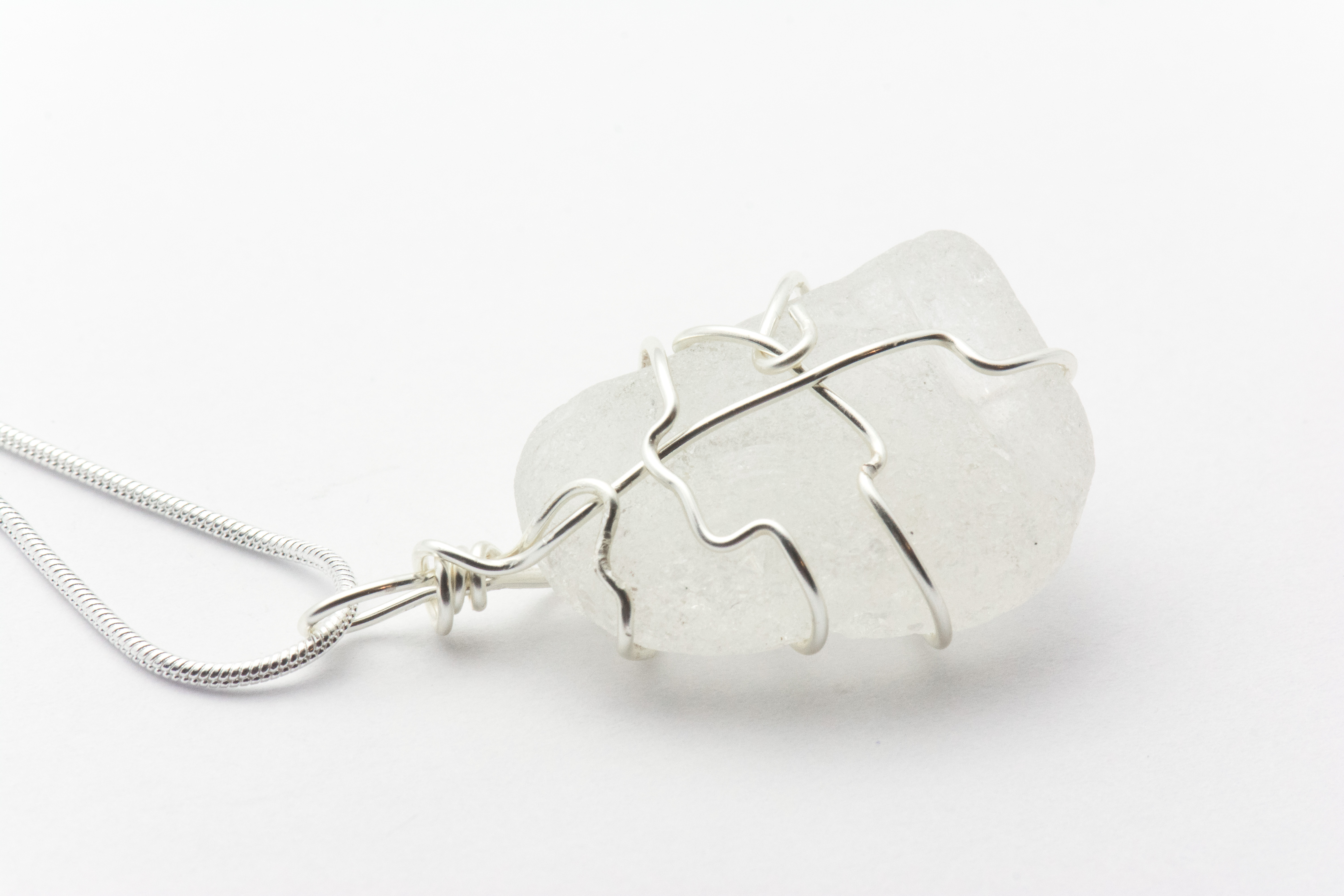62a719d58d69d2 Wire Wrapped White Sea Glass Loop Necklace | Genuine - Black Brook Shop