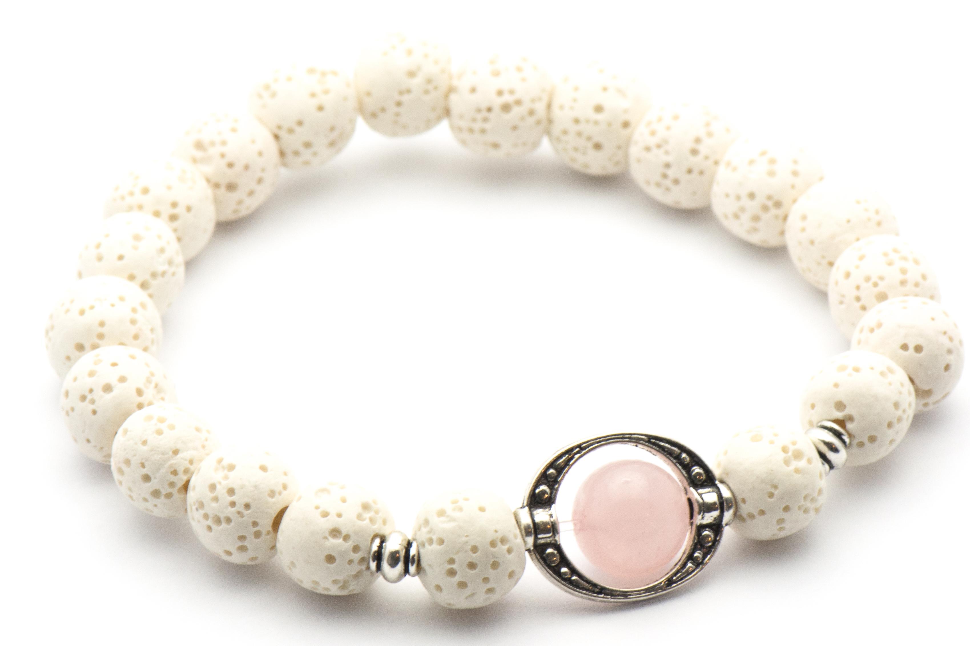 Diffuser Bracelet Rose Quartz White Wood