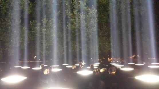 Dust – Dawn Beams of light punctuate the London sky commemorating the 100th anniversary of the outbreak of the First World War