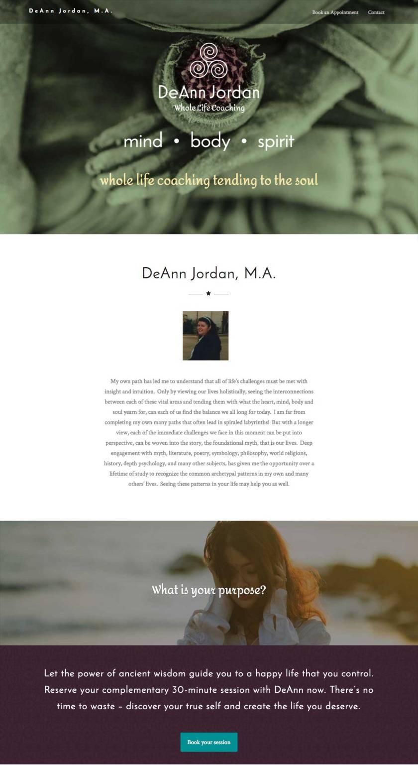 Website design for deannjordan.com