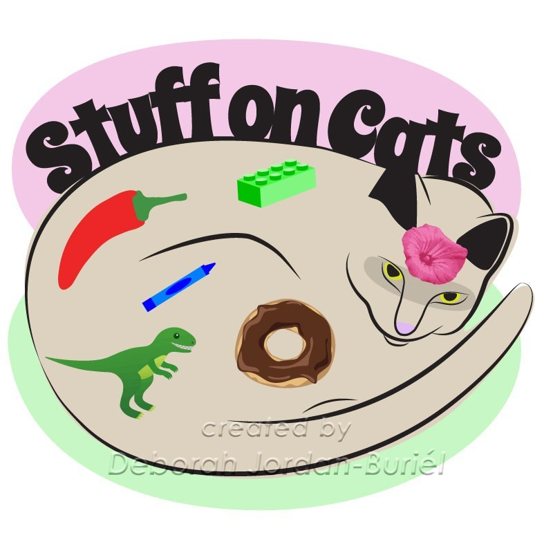 A logo of a cat with random items on it