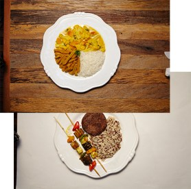 Photos of food on plates