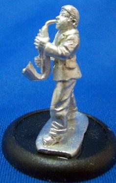 1 Saxophonist with his saxaphone