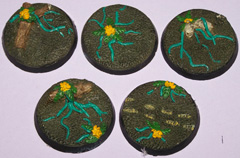 5x Jungle Terrain 40mm bases.