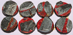 12x Volcanic Earth 25mm bases