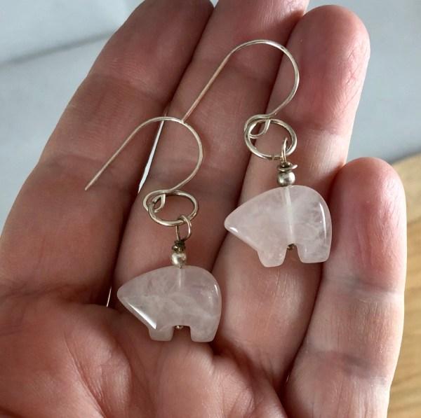 rose quartz bear earrings fetish