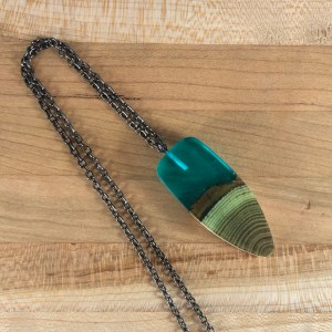 blue resin wood necklace