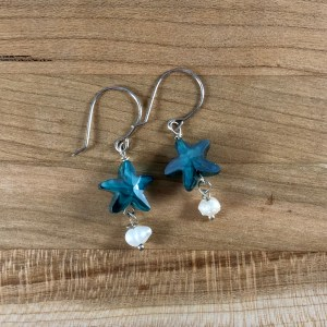 swarovski blue star pearl earrings