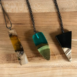 wood and amber necklaces resin