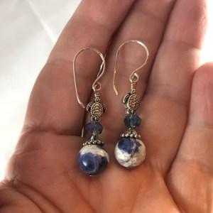turtle sodalite crystal sterling silver earrings
